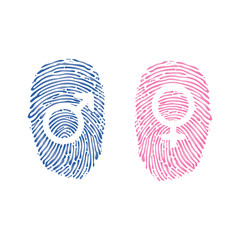 Male and Female Symbols in thumbprint or fingerprint, two colors. vector illustration isolated on white background.