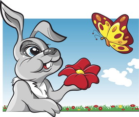 Rabbit with flower and butterfly cartoon vector