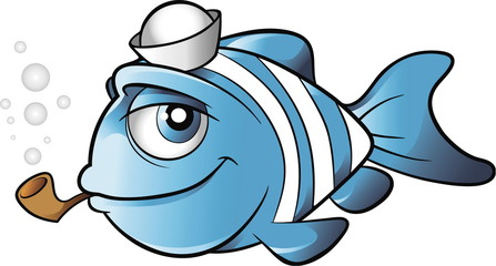 Sailor fish with sailor hat and a pipe cartoon vector