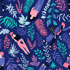 Fashionable young women in casual style with tropical leaves on the dark background. Vector hand drawn stylish seamless pattern with girls. Tropical fabric design.