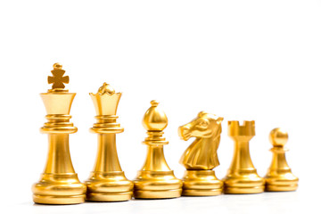 Gold chess piece stand in a row (king, queen, bishop, knight, rook, pawn) on white background