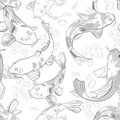 Seamless pattern with koi and bubbles in the pond Background with black and white fish