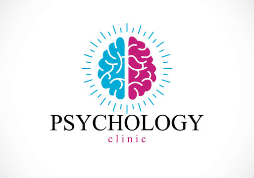 Human anatomical brain, mental health psychology conceptual logo or icon, psychoanalysis and psychotherapy concept. Vector simple classic design.