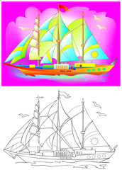 Colorful and black and white pattern of fantasy sailboat. Worksheet for children and adults. Vector image.