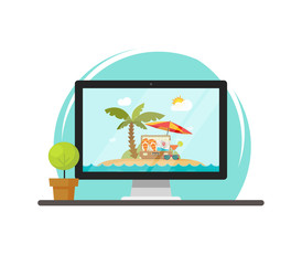 Online travel via computer vector illustration, concept of on-line trip or journey booking via pc, flat cartoon computer screen with beach resort on working table front view