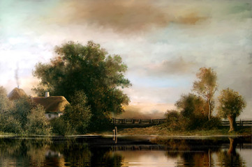 Oil paintings rural landscape. Fine art.