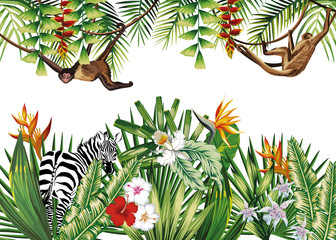 Tropical illustration with flowers plants monkey zebra