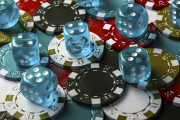 background of colorful fake dice for playing poker