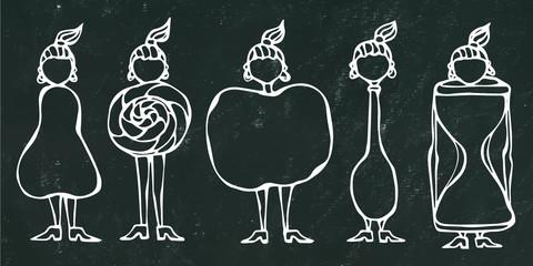 Black Chalk Board Background. Pear, Lollipop, Apple, Spoon, Hourglass Women Body Type Figure Shape Sketch. Hand Drawn Vector Illustration. Caricature. Savoyar Doodle Style.
