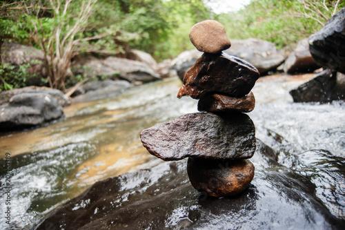 Zen with river rocks, blance