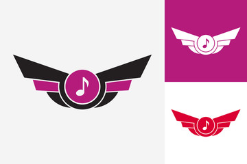 Wing Music Logo Template Design Vector, Emblem, Design Concept, Creative Symbol, Icon