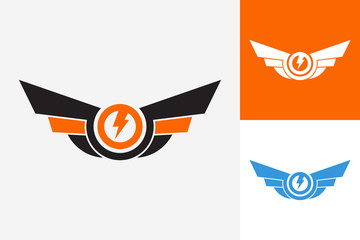 Wing Electric Logo Template Design Vector, Emblem, Design Concept, Creative Symbol, Icon