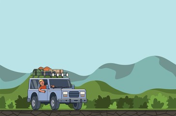SUV car with luggage on the roof and smiling guy behind the wheel moving through the valley on forest and hills background. Off-road vehicle in the valley. Flat vector illustration. Horizontal.