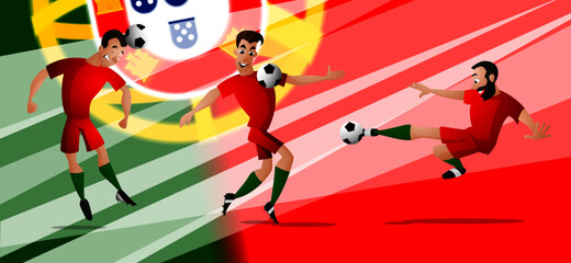 A set of the team Portugal football or soccer players kicking the ball. Isolated from background. Drawn in a cartoon style.