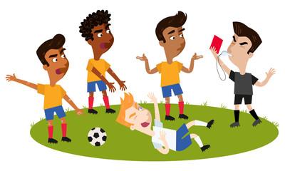 Fußball Cartoon, Schiedsrichter pfeift, gibt nach Foul sich beschwerenden Feldspielern rote Karte, Gegenspieler liegt auf dem Fußballplatz nach einer Schwalbe