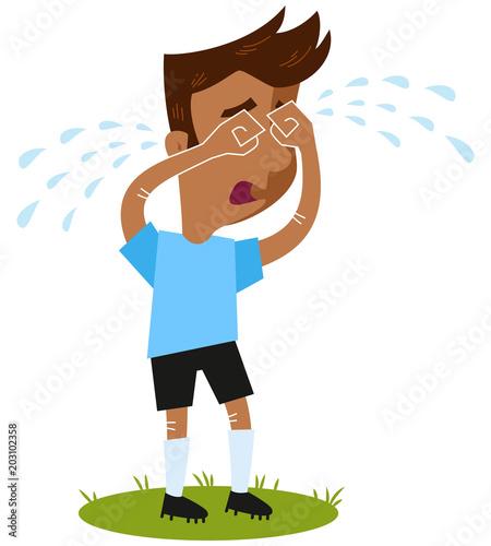 Fussball Cartoon Fussballspieler In Blauem Trikot Steht Auf