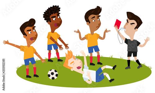 Fussball Cartoon Schiedsrichter Pfeift Gibt Nach Foul Sich