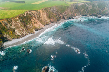 Aerial view of some cliffs in Asturias, north of Spain