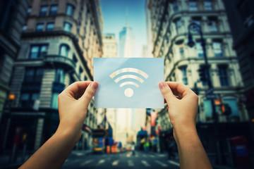 holding wifi symbol