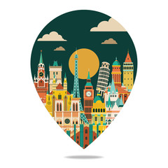 europe famous monuments skyline. Travel and tourism background. Vector illustration
