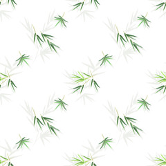 Seamless pattern with bamboo leaves, vector background with seamless floral texture for print design.