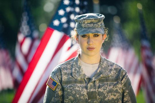 Portrait of hispanic American female soldier