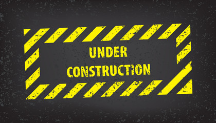 PrintUnder construction sign on gray ground texture. Vector illustration for website. Under construction stamp with black and yellow striped borders vector illustration.