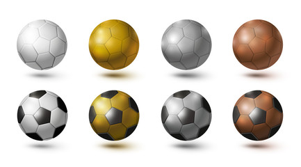 Soccer ball isolated on white background gold silver copper color vector illustration