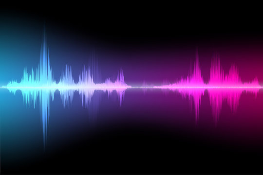 Colored background of abstract sound wave vector.
