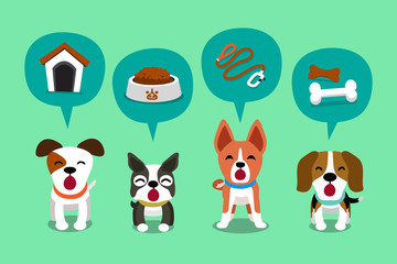 Cartoon character cute dogs and speech bubbles with accessories