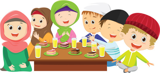 happy Muslim boys and girls eating 