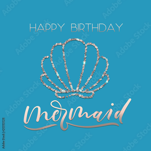 happy birthday mermaid greeting card set with sparkle rose gold