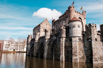 The medieval Castle of the Counts (Gravensteen) in Ghent, Belgium