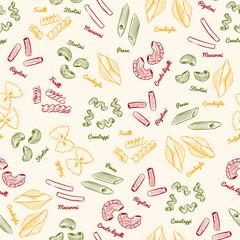 Pasta set ,seamless pattern vector.