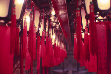 Illuminated red Chinese Lanterns hanging on ceiling