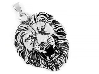 Head Lion - Animal King Jewelry - Silver Pendant Stainless Steel