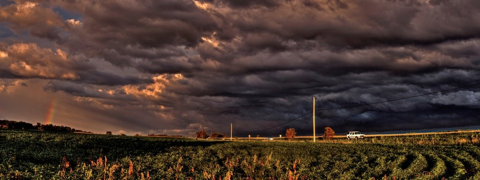 Powerful and Beautiful Storm Clouds at Sunset outside of Sioux Falls, South Dakota during Summer