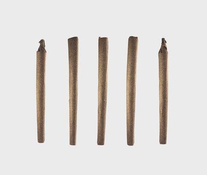 Set of Large Pre-Rolled Marijuana Cigars - Blunts - Isolated