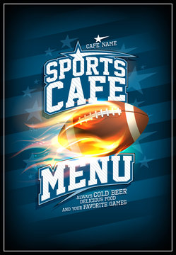 Sports cafe menu card design concept with rugby ball