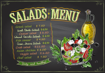 Salads menu chalkboard design, hand drawn illustration with greek salad