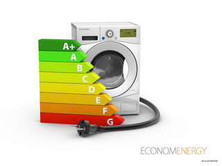 3d Illustration of washing machine, isolated on white bakcground