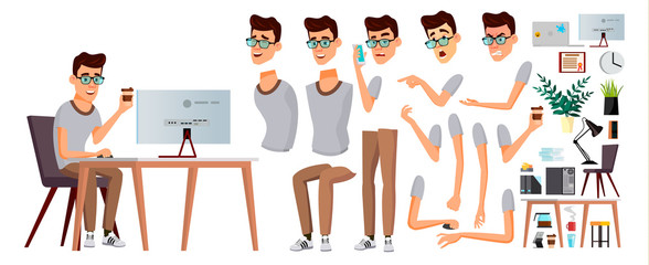 Office Worker Vector. Emotions, Gestures. Animation Creation Set. Business Person. Career. Modern Employee, Workman. Isolated Flat Cartoon Character Illustration