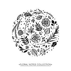 Flower circle shape pattern. Floral botanical elements. Hand drawn illustration. Nature vector design.
