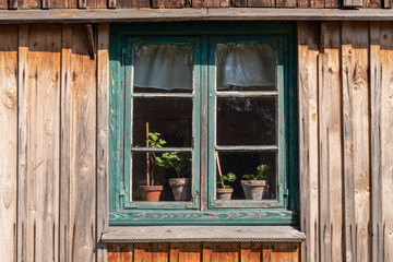 Window of wooden house