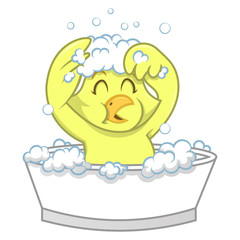 Little Bird Sing while shower on bathtub cartoon vector