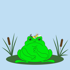 Blatant lies mosquito in the frog among the bog. Cartoon vector illustration.