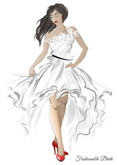 Sketch with the image of a fashionable bride in an air white dress. Vector illustration.