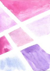 Abstract watercolor geometric background. Modern minimalist style of curved shapes with copy space.