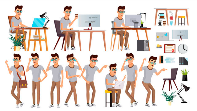 Office Worker Vector. Face Emotions, Various Gestures. Business Human. Smiling Manager, Servant, Workman, Officer. Flat Character Illustration