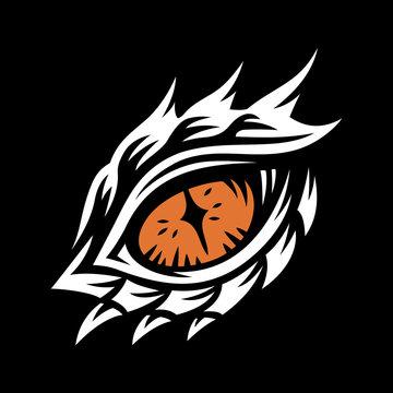 Vector eye of a dragon and monster - illustration, print, emblem design on a black background.
